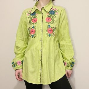 Vintage Button Up Lime Green Floral Shirt 70's M